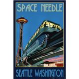 Seattle Space Needle Travel Poster Print