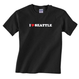 I Love Seattle Adult Black T-Shirt